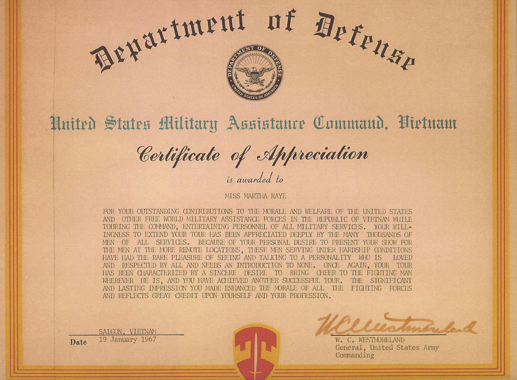 Army Promotion Certificate Template